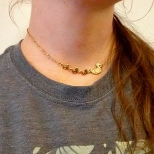 Momma Duck 3 Ducklings Choker Necklace Avon Gold